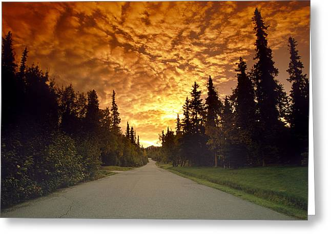Satisfaction Greeting Cards - Road Going Into Sunset Rural Anchorage Greeting Card by Jeff Schultz
