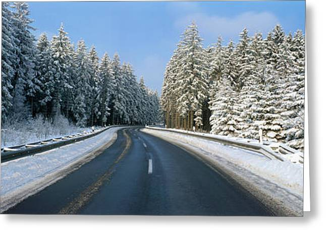 Blacktop Greeting Cards - Road, Hochwald, Germany Greeting Card by Panoramic Images