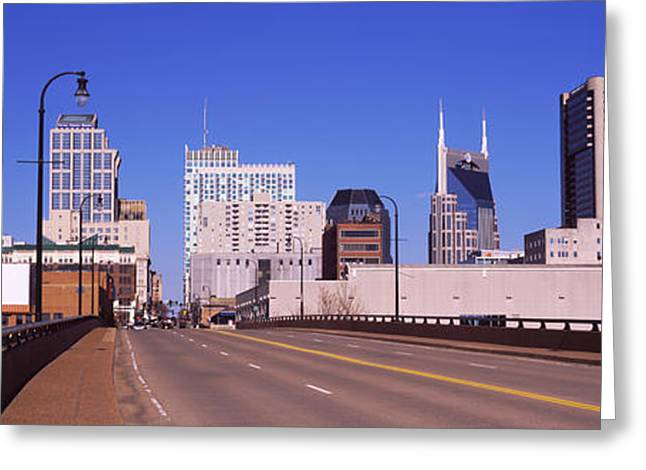Nashville Greeting Cards - Road Into Downtown Nashville Greeting Card by Panoramic Images