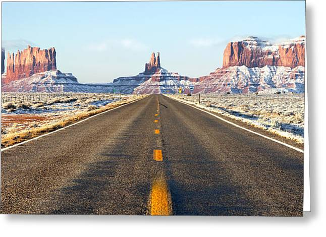 Desert Southwest Greeting Cards - Road lead into Monument Valley Greeting Card by King Wu