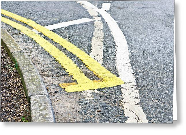 Angles Greeting Cards - Road markings Greeting Card by Tom Gowanlock
