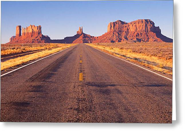Roadway Greeting Cards - Road Monument Valley, Arizona, Usa Greeting Card by Panoramic Images