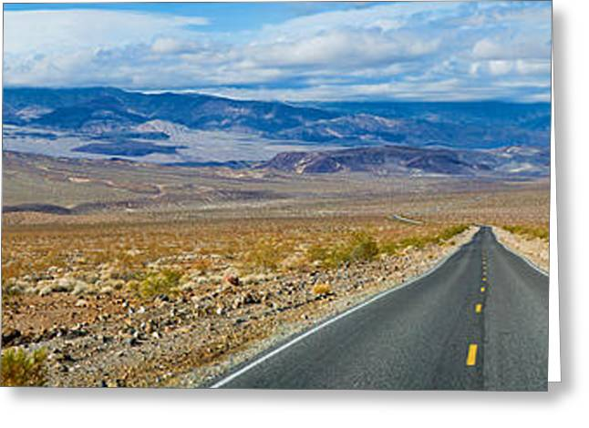 Non Urban Scene Greeting Cards - Road Passing Through A Desert, Death Greeting Card by Panoramic Images