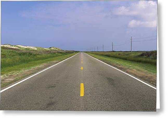 Yellow Line Photographs Greeting Cards - Road Passing Through A Landscape, North Greeting Card by Panoramic Images