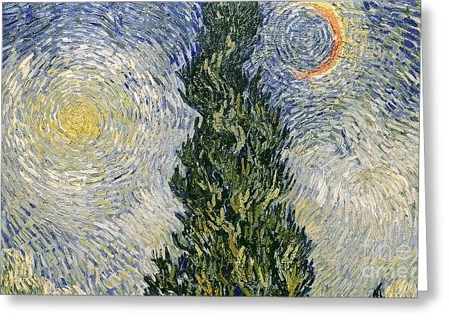 Roads Paintings Greeting Cards - Road with Cypresses Greeting Card by Vincent Van Gogh
