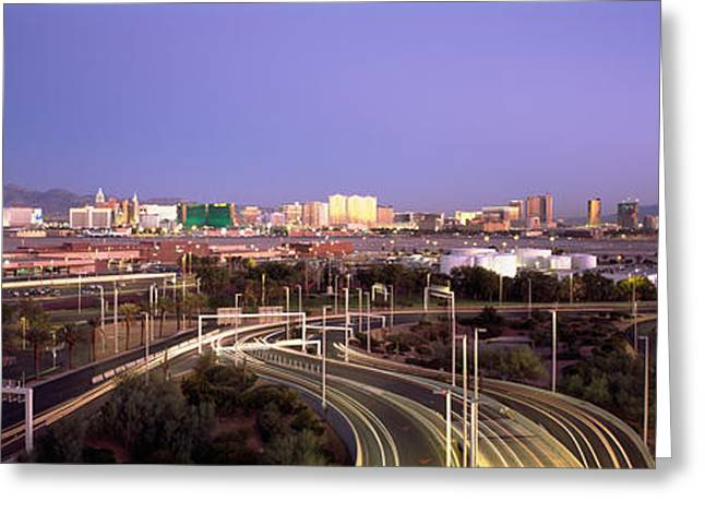 International Airports Greeting Cards - Roads In A City With An Airport Greeting Card by Panoramic Images
