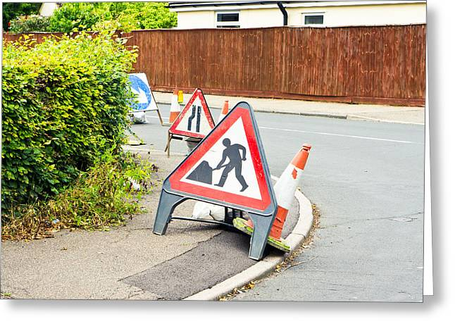 Safety Cones Greeting Cards - Roadworks Greeting Card by Tom Gowanlock