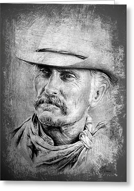 Mustache Greeting Cards - Robert Duvall Greeting Card by Andrew Read