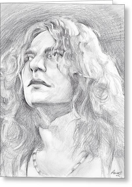 Original Robert Plant Paintings Greeting Cards - Robert Plant Greeting Card by Marina Sotiriou