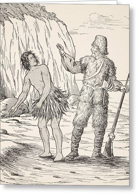 Lost Drawings Greeting Cards - Robinson Crusoe and Friday Greeting Card by English School