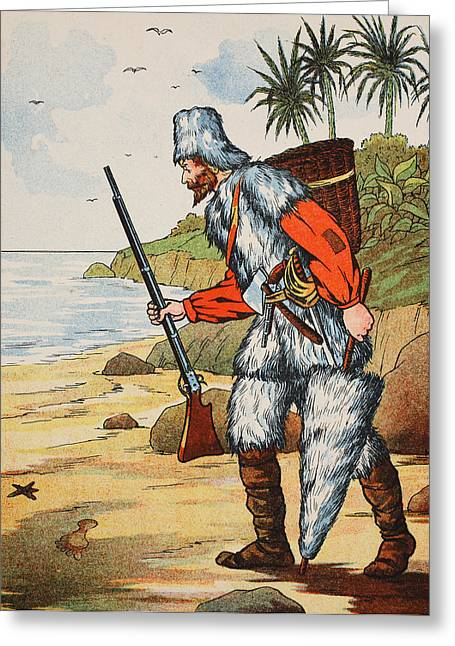 Umbrella Drawings Greeting Cards - Robinson Crusoe Greeting Card by English School