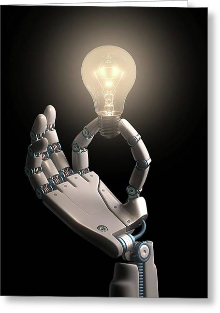Robotic Hand Holding A Light Bulb Greeting Card by Ktsdesign