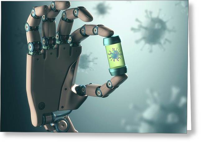 Robotic Hand Holding Virus Greeting Card by Ktsdesign
