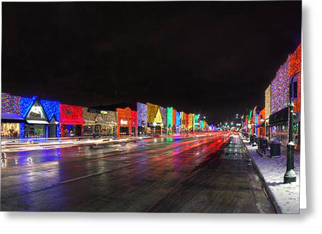 Rochester Michigan Christmas Lights Greeting Card by Twenty Two North Photography