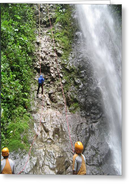 Civilization Greeting Cards - Rock Climbing Rope Climbing Costa Rica Vacations Waterfalls Rivers  Recreation challanges  facilitie Greeting Card by Navin Joshi