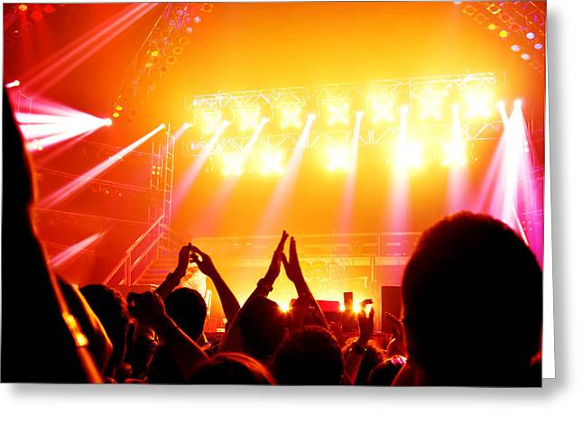 Applauding Greeting Cards - Rock concert Greeting Card by Anna Omelchenko