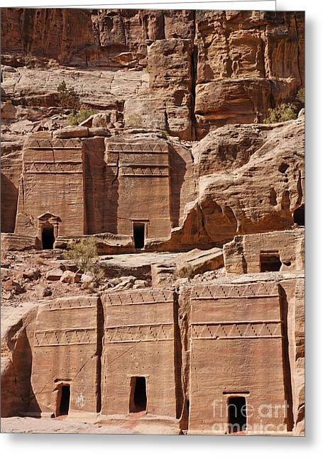 Rock Cut Tombs On The Street Of Facades Petra Jordan Greeting Card by Robert Preston