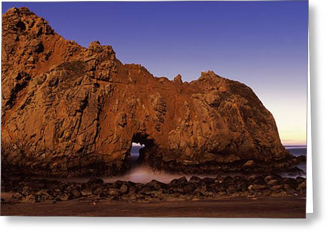 Pfeiffer Beach Greeting Cards - Rock Formation On The Beach, One Hour Greeting Card by Panoramic Images