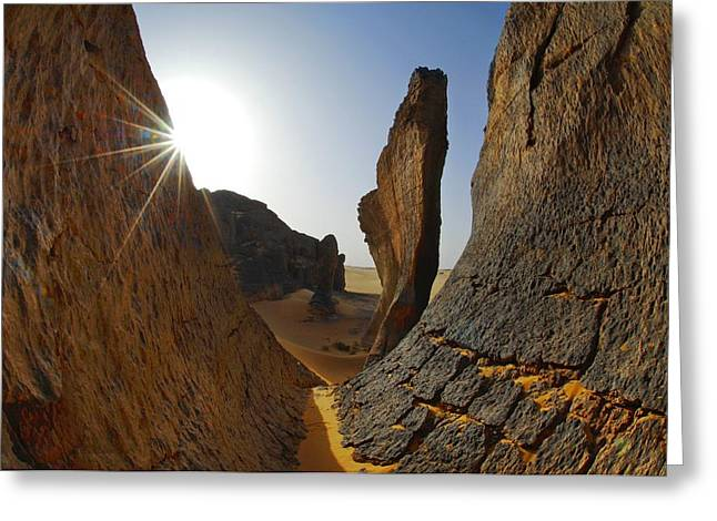 Sahara Sunlight Greeting Cards - Rock formations, Algerian Sahara Greeting Card by Science Photo Library