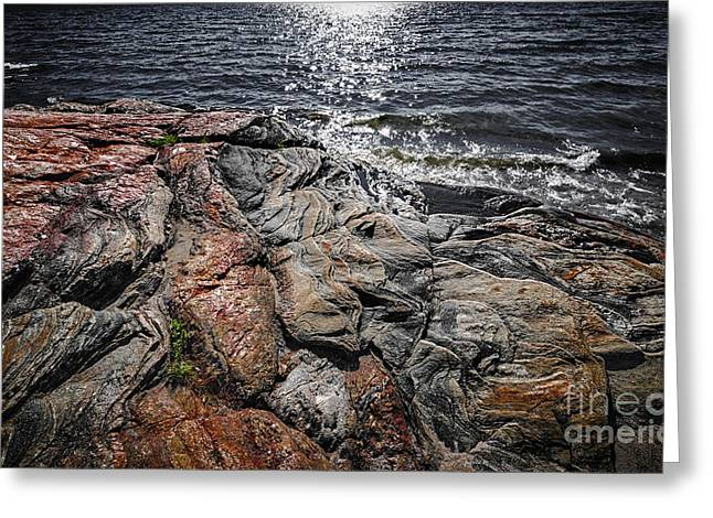 Georgian Bay Greeting Cards - Rock formations at Georgian Bay Greeting Card by Elena Elisseeva