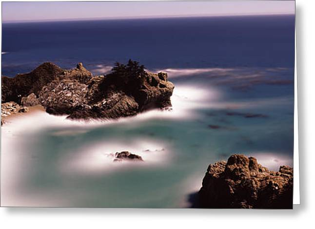 Big Sur California Photographs Greeting Cards - Rock Formations At The Coast, Moonlight Greeting Card by Panoramic Images