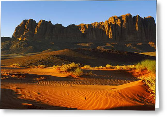 Civilization Greeting Cards - Rock Formations In A Desert, Jebel Greeting Card by Panoramic Images
