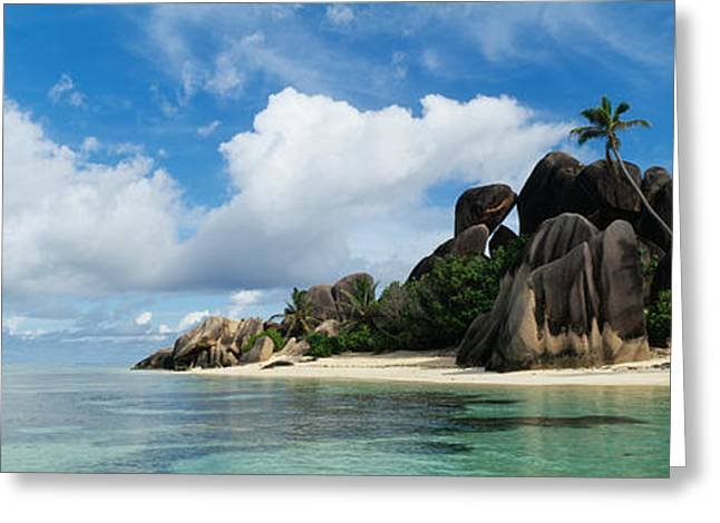 Beach Photography Greeting Cards - Rock Formations On The Beach, Anse Greeting Card by Panoramic Images
