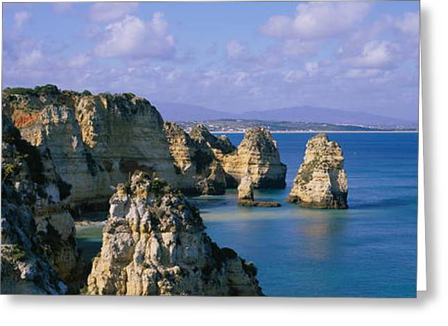 Panoramic Ocean Greeting Cards - Rock Formations On The Beach, Lagos Greeting Card by Panoramic Images