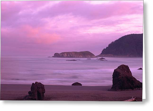 Horizon Over Water Greeting Cards - Rock Formations On The Beach, Myers Greeting Card by Panoramic Images