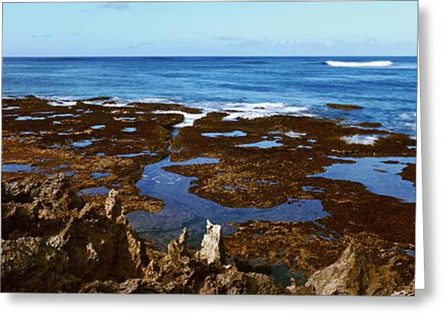 Ocean Photography Greeting Cards - Rock Formations On The Coast, Oahu Greeting Card by Panoramic Images