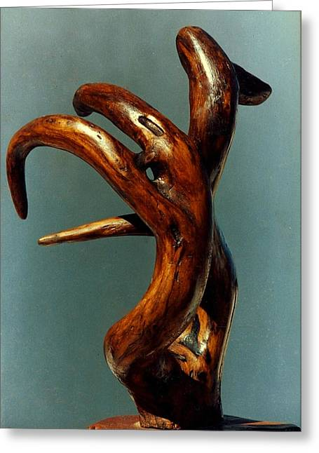 Red Abstract Sculptures Greeting Cards - Red Cedar Drift Greeting Card by Vincent Von Frese