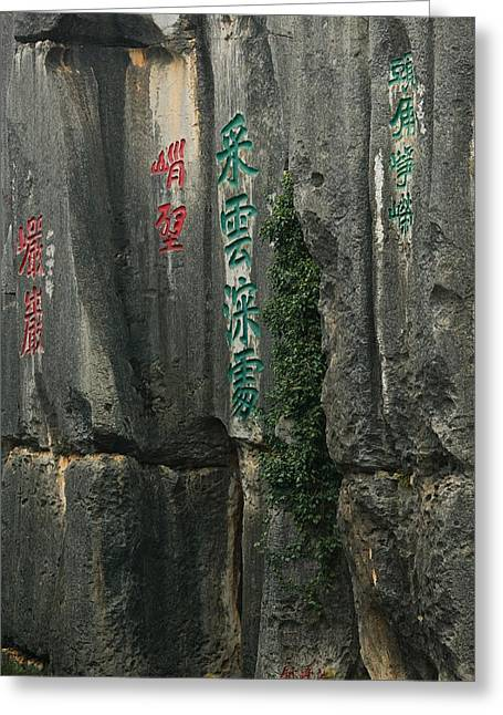 Yunnan China Greeting Cards - Rock Poems On The Stone Forest, Shilin Greeting Card by Panoramic Images