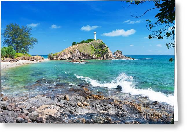 Abstract Waves Greeting Cards - Rock Sea And Sky Greeting Card by Atiketta Sangasaeng