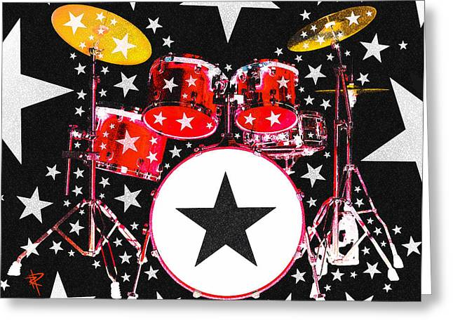 Drum Kit Greeting Cards - Rock Star in Red Greeting Card by Russell Pierce