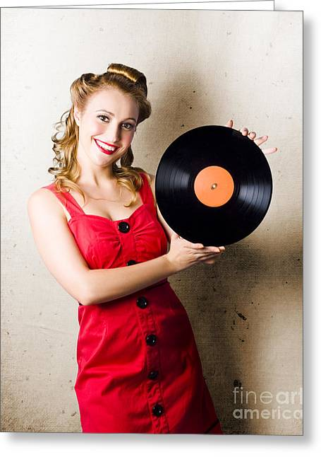Rockabilly Music Girl Holding Vinyl Record Lp Greeting Card by Jorgo Photography - Wall Art Gallery