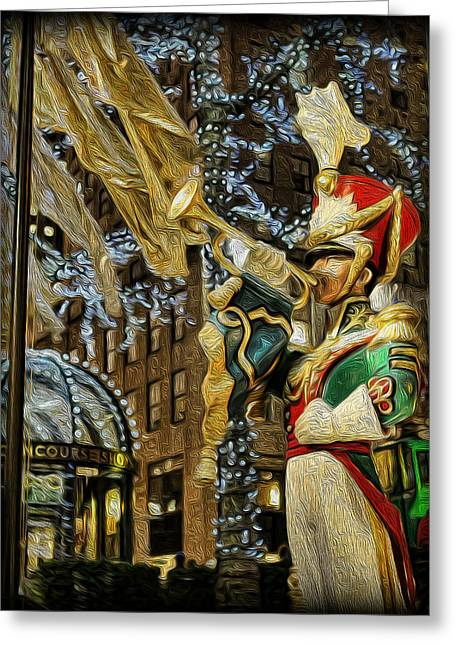 Kwanzaa Greeting Cards - Rockefeller Center Bugle Boy Greeting Card by Lee Dos Santos