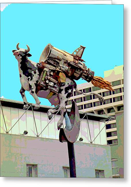 Mother Goose Mixed Media Greeting Cards - Rocket Cow Sculpture by Michael Bingham Greeting Card by Steve Ohlsen