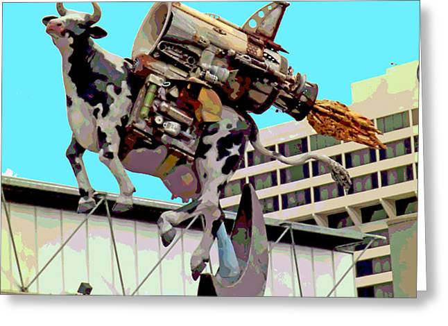 Rocket Cow Sculpture by Michael Bingham Greeting Card by Steve Ohlsen