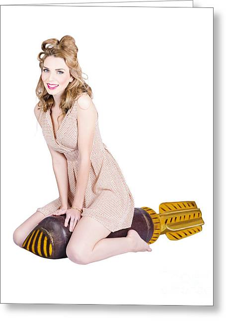 Woman Curled Position Greeting Cards - Rocket girl. Retro pin up model on war missile Greeting Card by Ryan Jorgensen