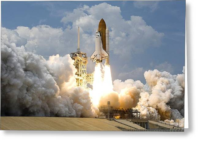 Astronauts Mixed Media Greeting Cards - Rocket launch Greeting Card by Celestial Images