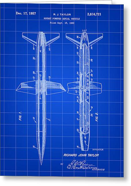 Jet-propelled Greeting Cards - Rocket Patent 1953 - Blue Greeting Card by Stephen Younts