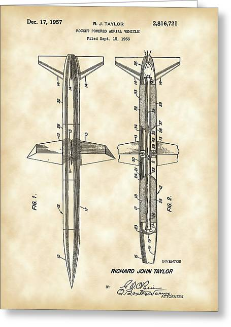Jet-propelled Greeting Cards - Rocket Patent 1953 - Vintage Greeting Card by Stephen Younts