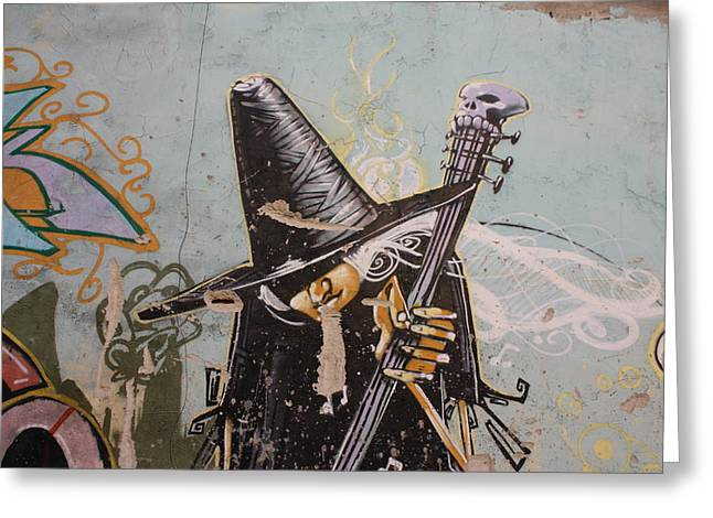 Grafity Greeting Cards - Rocking witch Greeting Card by Jan Katuin