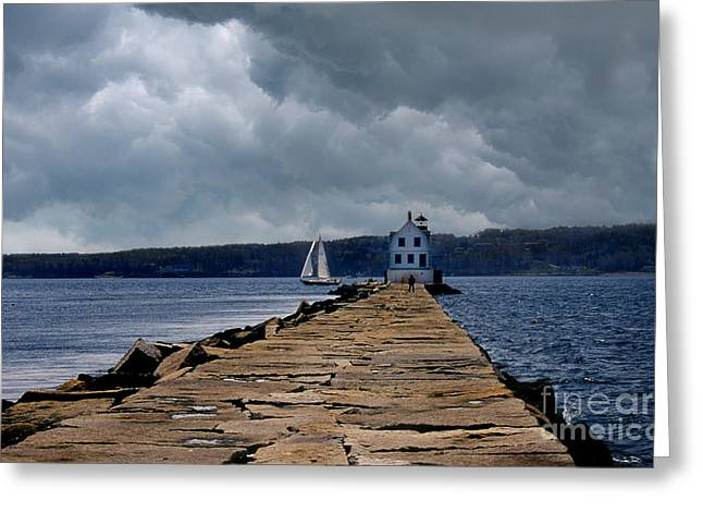 Lighthouse Photography Greeting Cards - Rockland Breakwater Lighthouse Greeting Card by Skip Willits
