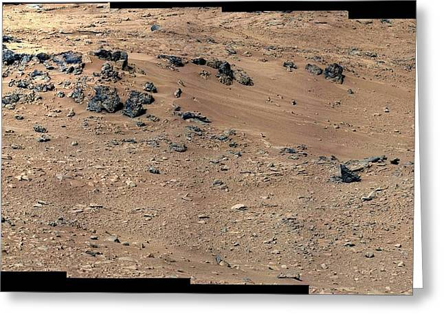 Curiosity Rover Greeting Cards - Rocknest site, Mars, Curiosity image Greeting Card by Science Photo Library