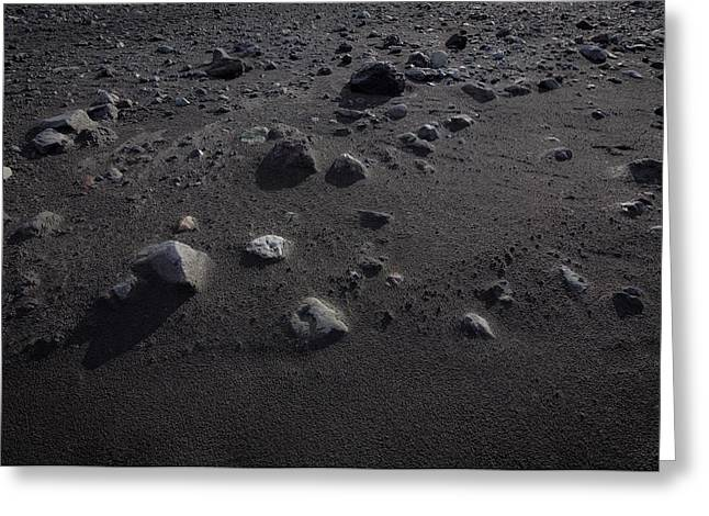 Mars Black Greeting Cards - Rocks And Black Sands. Landscape Still Greeting Card by Panoramic Images