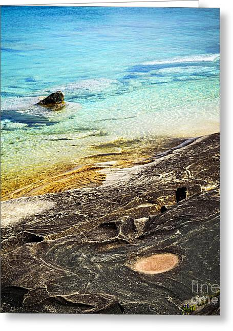 Huron Coast Greeting Cards - Rocks and clear water abstract Greeting Card by Elena Elisseeva