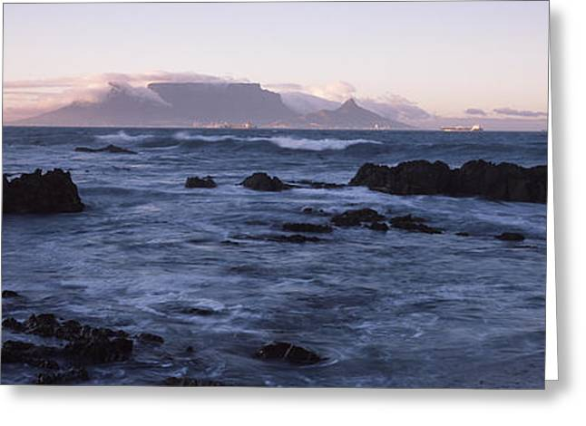 Cape Town Greeting Cards - Rocks In The Sea With Table Mountain Greeting Card by Panoramic Images