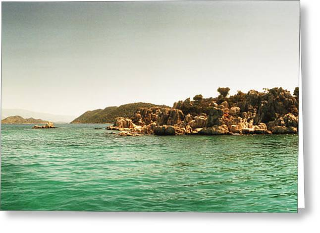 Sunken Greeting Cards - Rocky Island In The Mediterranean Sea Greeting Card by Panoramic Images