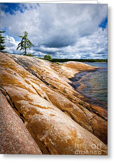 Georgian Bay Greeting Cards - Rocky shore of Georgian Bay Greeting Card by Elena Elisseeva